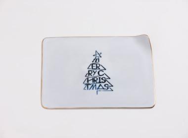 テーブルウェアクローゼット クリスマスレタープレート メリークリスマス ゴールド M