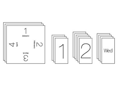 内容物<br /> ■カレンダー本体<br /> ■月プレート…3枚<br /> ■日プレート(10の位)…3枚<br /> ■日プレート(1の位)…5枚<br /> ■曜日プレート…4枚